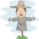 Royalty Free Clipart Image of a Man Scarecrow