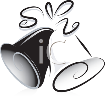 Royalty Free Clipart Image of Black and White Wedding Bells