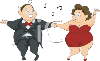 Royalty Free Clipart Image of a Chubby Couple Dancing
