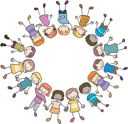 Royalty Free Clipart Image of a Circle of Children