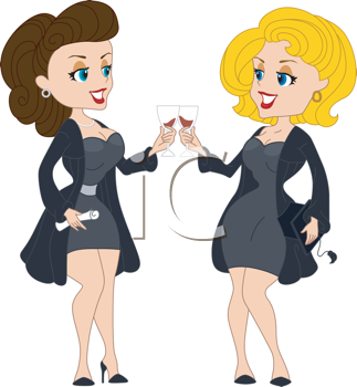 Royalty Free Clipart Image of Graduates Toasting
