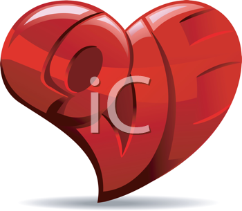 Royalty Free Clipart Image of a Heart With the Word Love in It