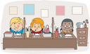 Royalty Free Clipart Image of Faculty Members at Work
