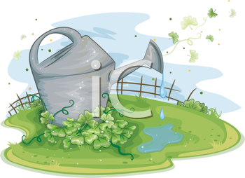 Royalty Free Clipart Image of a Watering Can Near Shamrocks