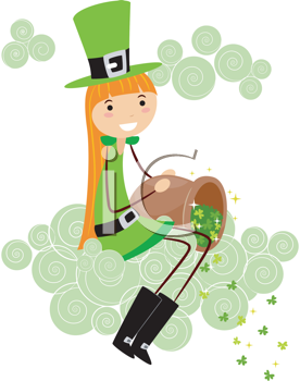 Royalty Free Clipart Image of a Girl Scattering Shamrocks From a Cloud