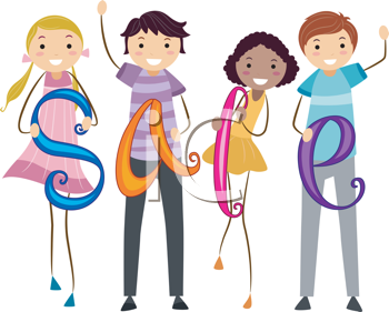 Royalty Free Clipart Image of Teens Holding Sale Signs