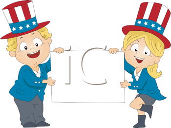 Royalty Free Clipart Image of American Kids Holding a Banner