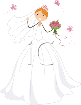 Royalty Free Clipart Image of a Bride Surrounded by Butterflies