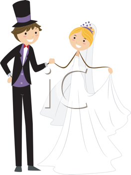 Royalty Free Clipart Image of a Bridal Couple Holding Hands