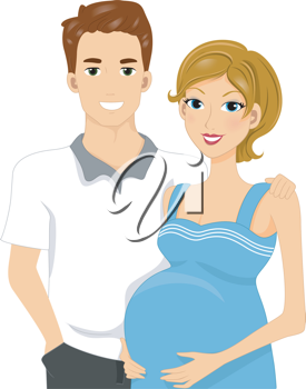 Illustration of Expecting Parents Standing Side by Side