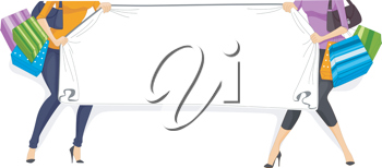 Illustration of a Web Banner with a Shopping Theme
