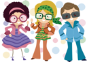 Illustration of Kids Dressed in Retro Costumes