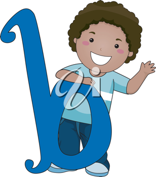 Illustration of a Kid Standing Behind a Letter B
