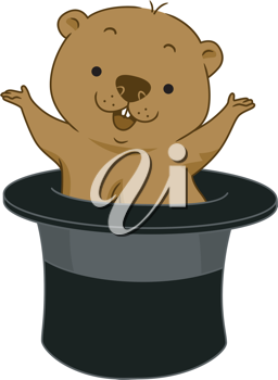 Illustration of a Groundhog Popping Out of Hat