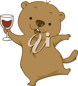 Illustration of a Groundhog Doing a Toast