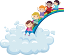 Royalty Free Clipart Image of Children Sliding Down a Rainbow to a Cloud