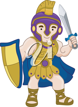 Royalty Free Clipart Image of an Ancient Warrior