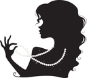Royalty Free Clipart Image of a Woman in Silhouette Wearing Pearls