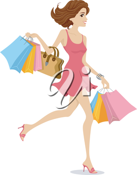 Illustration of a Girl Wearing a Pink Dress Happily Walking Away with Shopping Bags in Tow