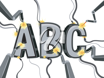 Illustration Featuring Letters of the Alphabet Being Forged with Lasers