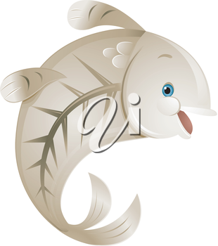 Illustration of a Cute X-ray Fish Smiling Happily