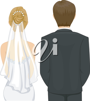 Back View Illustration of a Bride and Groom in a Wedding Ceremony