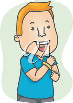 Illustration of a Man Wearing a Wristband for Support