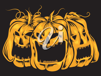 Halloween-Themed Illustration Featuring Creepy Jack-o'-Lanterns