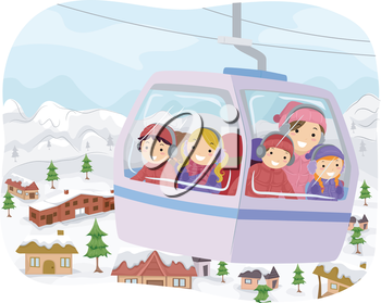Illustration of Kids Going to School in a Snow Cable