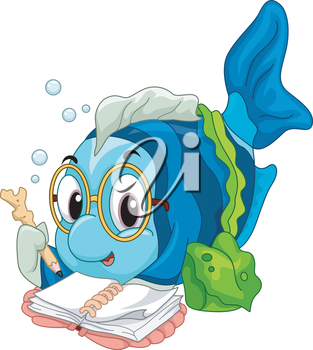Illustration of a Geeky Fish Eagerly Reading a Book