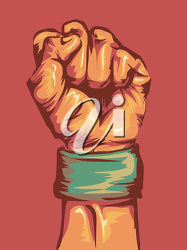 Cropped Illustration of a Fist Wearing a Wristband Clenched Tight