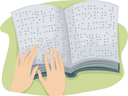 Illustration of a Hand Tracing the Pages of a Book Written in Braille