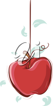 Illustration of an Apple Hanging from a Piece of String