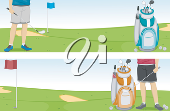 Banner Illustration of a Golfer and a Golf Bag Filled with Clubs