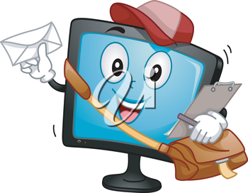 Mascot Illustration of a Monitor carrying a mail