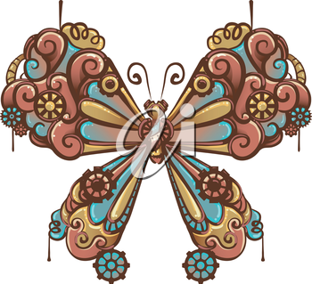 Steampunk Illustration of a Butterfly Made of Cogs and Gears