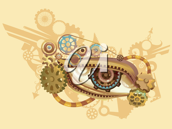 Steampunk Illustration of an Eye Elaborately Designed with Cogs and Gears