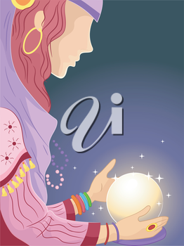 Illustration of  a Girl in a Gypsy Costume Looking at a Crystal Ball