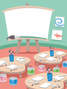 Illustration Featuring a Classroom Used for Painting Lessons