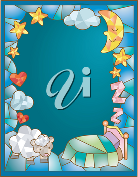 Stained Glass Illustration Featuring a Sheep Standing Beside a Bed