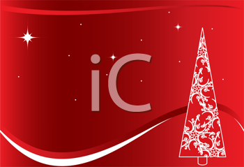 Royalty Free Clipart Image of a Red Background With a White Christmas Tree