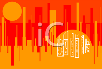 Royalty Free Clipart Image of a Red Hot City Background
