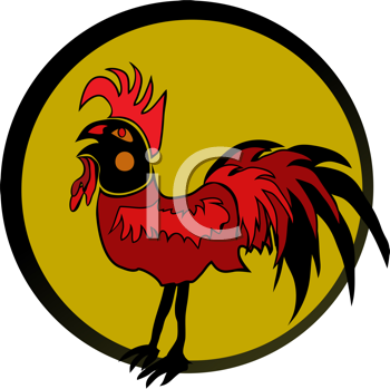 Royalty Free Clipart Image of a Rooster in a Black Frame