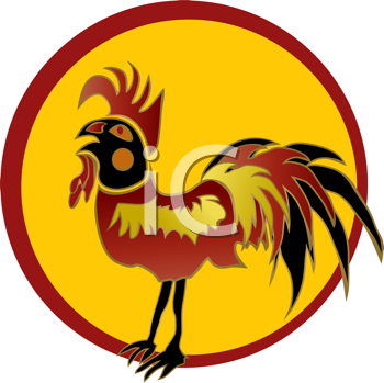 Royalty Free Clipart Image of a Rooster in a Red Frame
