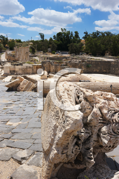 Royalty Free Photo of the Ruins of the Ancient Roman City Bet Shean, Israel