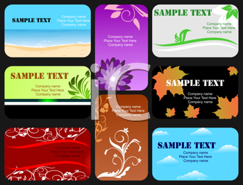 Royalty Free Clipart Image of a Set of Business Cards