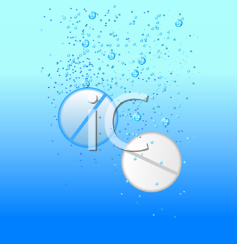 Royalty Free Clipart Image of Tablets in Water