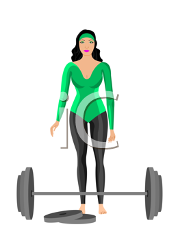 Royalty Free Clipart Image of a Woman With Dumbbells