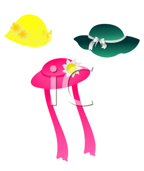 Royalty Free Clipart Image of a Set of Hat Illustrations