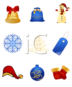 Royalty Free Clipart Image of a Set of Christmas Icons